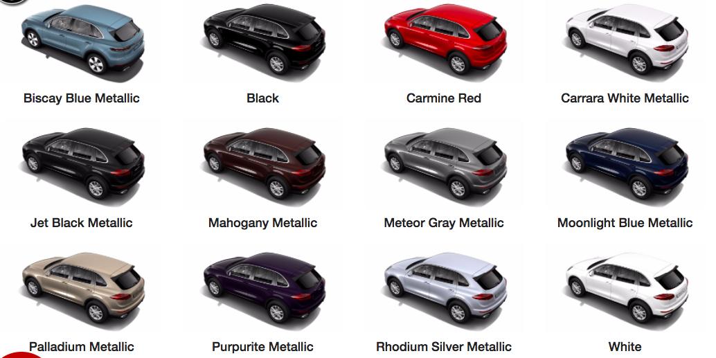 New Porsche Cayenne Bảng Màu Đầy Đủ Để Chọn Màu hợp phong thuỷ làm ăn